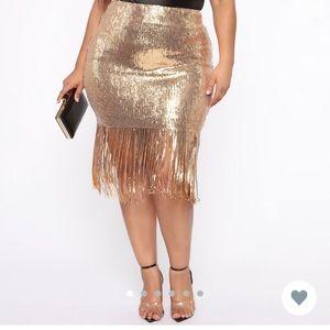 Gold sequin dress with fringe